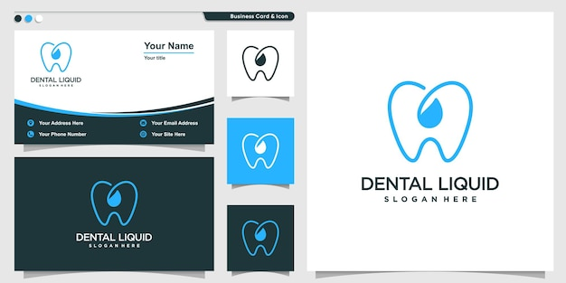 Dental logo with liquid water line art style and business card design template premium vector