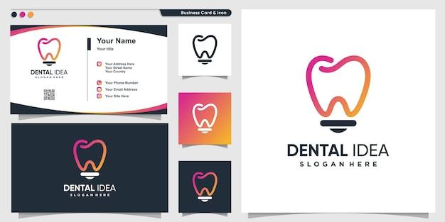현대적인 아이디어 전구 스타일과 명함 디자인 서식 파일이 있는 치과 로고 premium vector