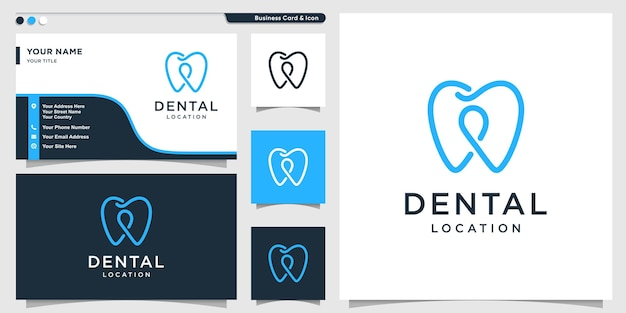 Dental logo with pin location line art style and business card design template premium vector