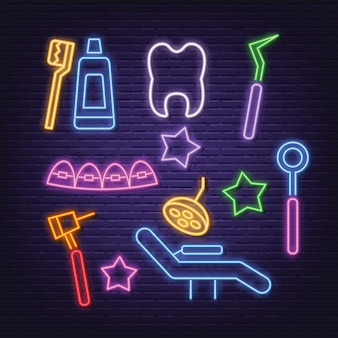 Dental neon icons set