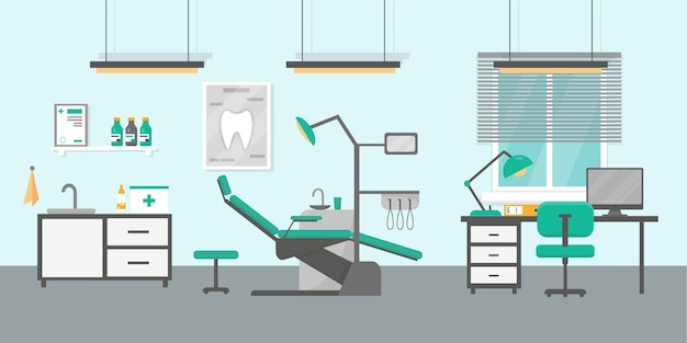 歯科医院のイラスト。歯科矯正診察室のインテリア。