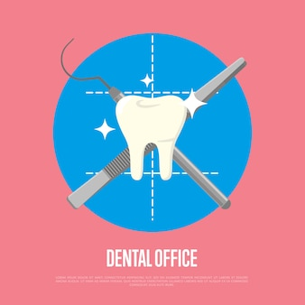 Dental office illustration with syringe and scalpel