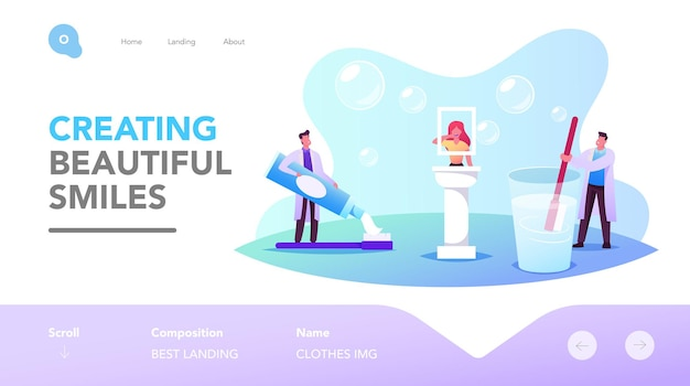 Dental and oral health care landing page template. tiny dentists doctor characters holding huge brush and toothpaste teaching cleaning teeth correctly. stomatology. cartoon people vector illustration
