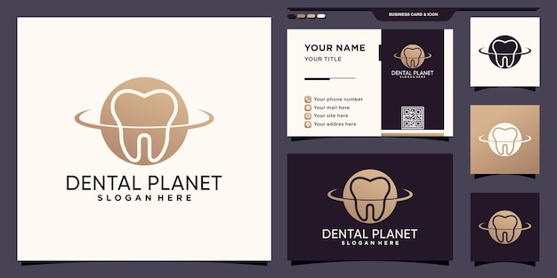 Dental planet logo with negative space concept and business card design premium vector