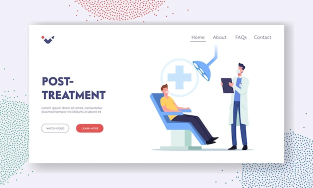 Dental post treatment landing page template. man patient sit in medical chair in stomatologist cabinet. doctor character conducting teeth and oral cavity check up. cartoon people vector illustration