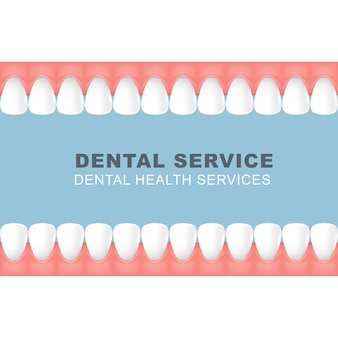 Dental poster with frame of row of teeth - foretooth line