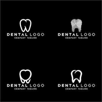 Dental premade logo monogram simple teeth set