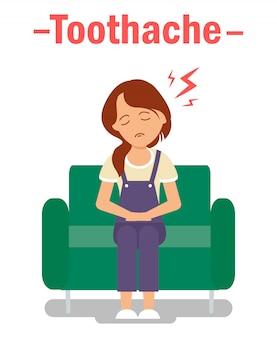 Стоматологическая проблема, зубная боль векторный концепт