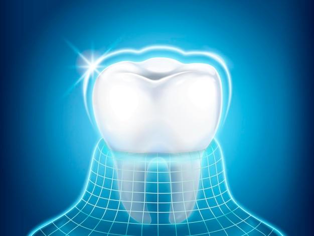 歯科関連のデザイン要素、キラキラ光と目に見えないコートで保護された歯、3dイラスト
