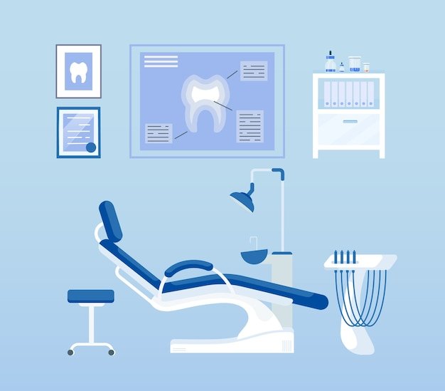 Набор плоских цветных объектов стоматологической комнаты