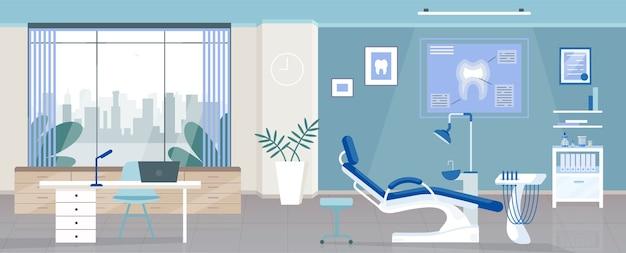 Стоматологическая комната плоского цвета. стоматологическая клиника, офис стоматолога, 2d мультяшный дизайн интерьера с ортодонтическими приборами на фоне. больница одонтологии, декор рабочего места стоматолога