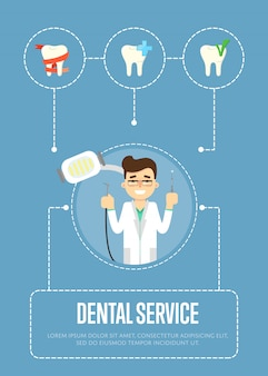 Dental service banner with male dentist
