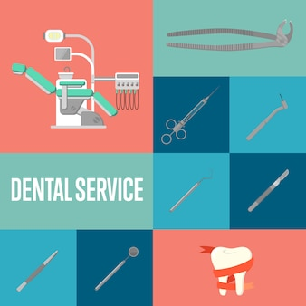 Dental service square composition with instruments