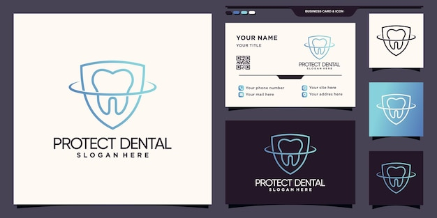 Dental and shield logo with line art style and business card design premium vector
