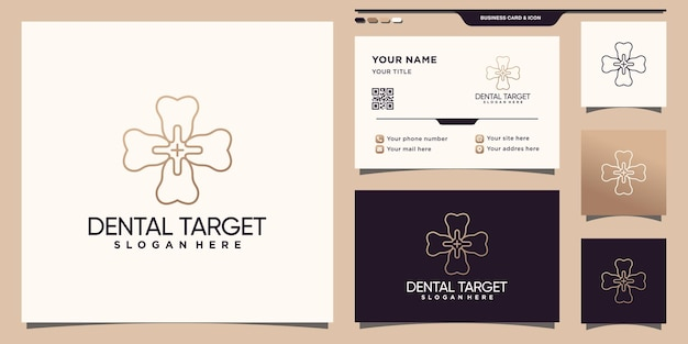 Dental target logo template with unique linear style and business card design premium vector