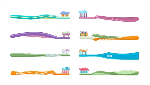 Dental toothbrush and toothpaste for oral disease prevention. tooth brush for healthy oral hygiene, enamel brushing whitening and cleaning vector illustration isolated on white background