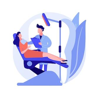 歯科治療の抽象的な概念のベクトル図です。歯科医院、歯のケアサービス、虫歯治療ツール、歯科医の椅子、歯痛の緊急援助、歯科矯正処置の抽象的な比喩。