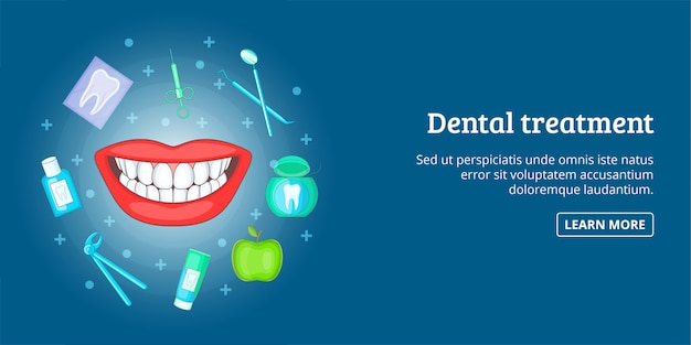 Dental treatment banner horizontal, cartoon style
