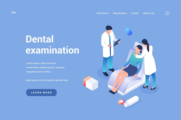 Dental treatment and examination dentist conducts therapy patients