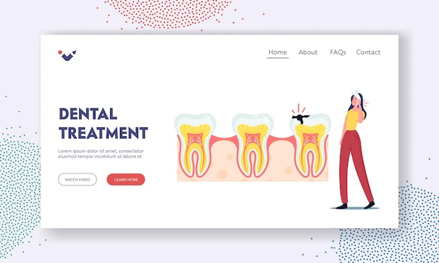 Dental treatment landing page template. woman patient character with bandaged face and tooth pain at medical stomatologist cabinet for professional oral check up. cartoon vector illustration
