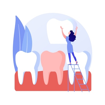 Dental veneers abstract concept vector illustration. veneer placement, dental beauty solution, teeth aesthetics, cosmetic dentistry service, orthodontic clinic, celebrity smile abstract metaphor.