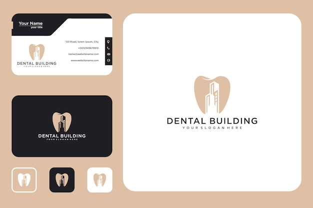 Dental with building logo design and business card