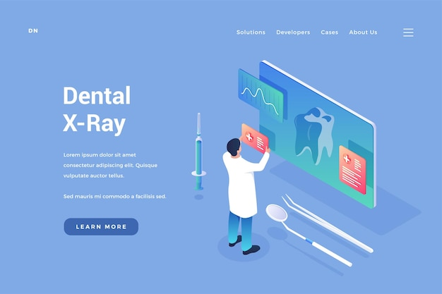 Dental xray of teeth doctor examines images and tomograms of oral cavity on digital display