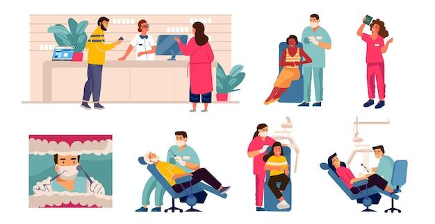 Стоматолог и пациент. мультяшные сцены с уходом за зубами, мужчина в стоматологическом кресле