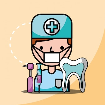 Dentist boy tooth dental drill and syringe