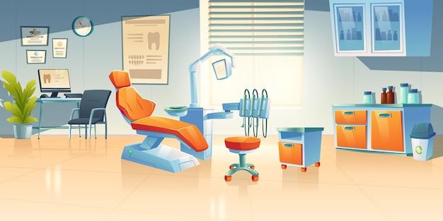 Gabinetto del dentista, stanza di stomatologia in clinica o ospedale