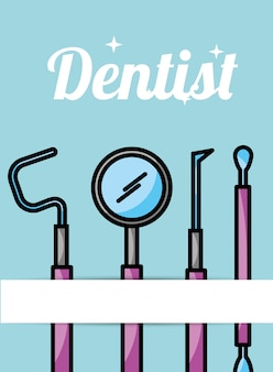 Dentist care hygiene tools card Premium Vector