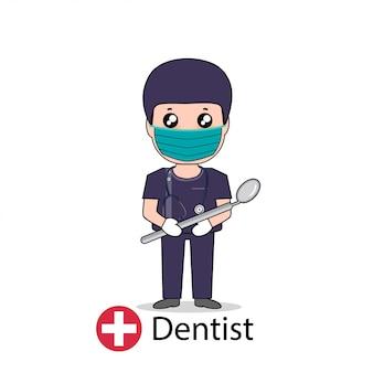 Дантист, дизайн персонажа из мультфильма дантиста, медицинский работник, медицинская концепция. иллюстрации.