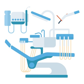 Dentist chair stomatology equipment vector illustration.