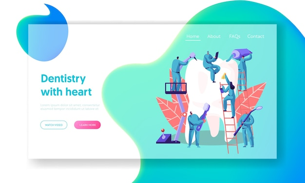 Dentist character care of big white tooth landing page. dental clinic background. medicine people work in stomatology with toothbrush toothpaste. oral surgery web page flat cartoon vector illustration