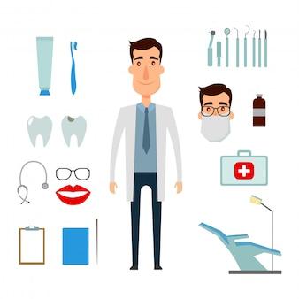 치과 의사 캐릭터 생성 세트. 얼굴, 감정, 옷의 종류와 아이콘.