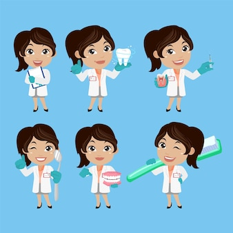 Dentist character and dental care concept