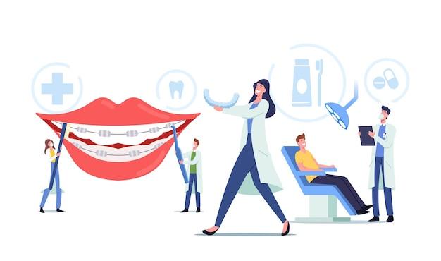 歯科医のキャラクターは、患者に歯列矯正器を取り付け、歯科矯正治療、歯科の概念、歯の位置合わせのための機器の取り付け、歯科矯正医。漫画の人々のベクトル図