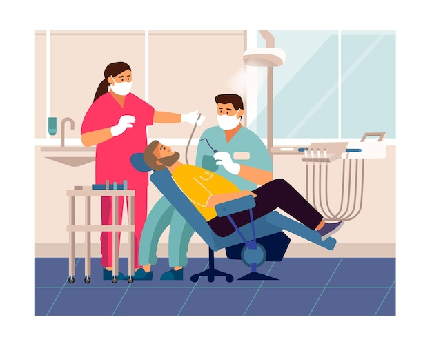 치과 검진. 치과 의자, 치아 관리 및 검사 개념에 누워 의사 사무실에서 만화 환자.