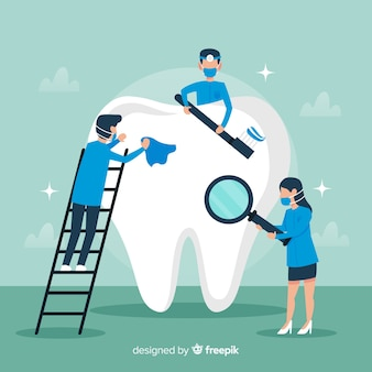 Dentist cleaning big tooth background