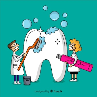 Dentist cleaning big tooth cartoon background