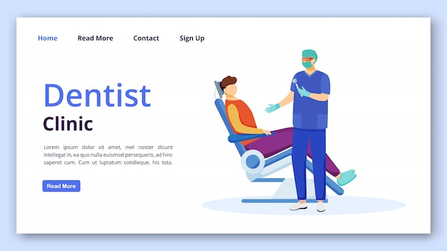 Dentist clinic landing page template. stomatology website interface idea with flat illustrations. stomatologist appintment. dentistry homepage layout. dental care landing page