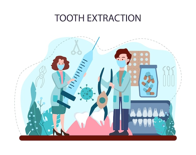 Dentist concept. dental doctor in uniform extracting human tooth