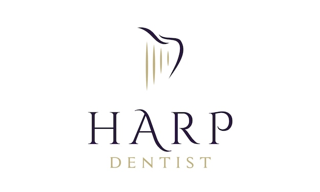 Dentist / dental logo design with harp and tooth