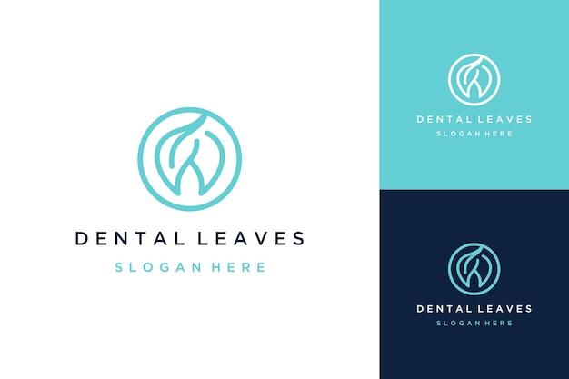 歯科医のデザインのロゴ、または円と自然の葉を持つ抽象的な歯
