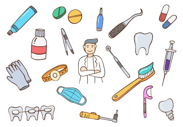 치과 의사 작업 직업 개념 낙서 손으로 그린 플랫 개요 스타일 세트 컬렉션