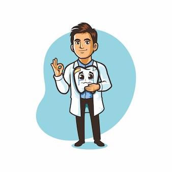 負傷悲しい歯の漫画のマスコットの描画を保持している歯科医の医師のロゴ