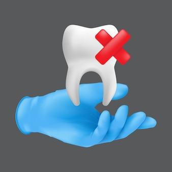 치아의 세라믹 모델을 들고 파란색 보호 수술 장갑을 끼고 치과 의사 손. 치아 추출 개념의 현실적인 그림은 회색 배경에 고립