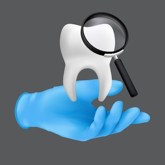 Dentist hand wearing blue protective surgical glove holding a ceramic model of the tooth.  realistic  illustration of dental regular checkups concept isolated on a grey background Premium Vector