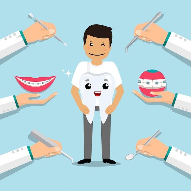 歯科医は歯科用器具と歯を保持しています。歯科のコンセプトです。歯科医の背景。図。