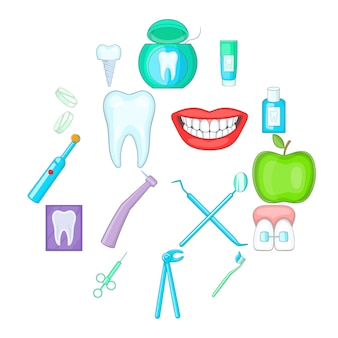 Dentist icon set, cartoon style